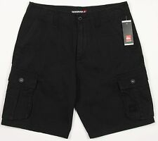Men's QUIKSILVER Vintage Black Cotton Cargo Shorts 30 NWT NEW Awesome!