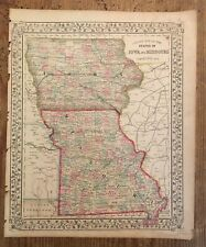 Antique Map of Iowa and Missouri 1867
