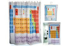 PERIODIC TABLE SHOWER CURTAIN ELEMENTS CHEMISTRY POLYESTER WITH HOOKS RINGS BATH