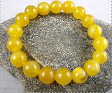 10mm Yellow Jade Beads Elastic Amulet Bracelet 7.5''