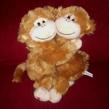 Target LOVE MONKEYS Brown Cream 8in Soft Shaggy Plush 2010 Feet Spell Out LOVE