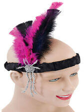 1920's Gatsby Flapper Black And Pink Feather Headband Silver Beads Satin New 20s