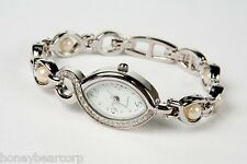 New Avon PEARLESQUE Bracelet Watch - Pearls & Faux Diamonds NEEDS NEW BATTERY