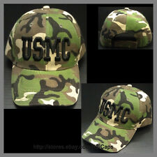 ***USMC TEXT*** CAMO CAMOUFLAGE ARMY GREEN BASEBALL CAP HAT