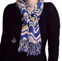 "WAVY RETRO LONG NECK SCARF HIJAB 74 X 26"" WOMEN SHAWL 