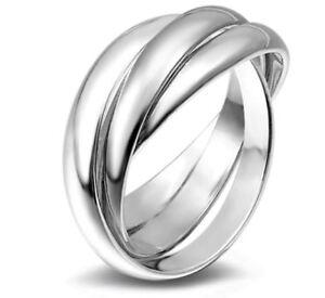Women's 925 Silver Plated Triple Infinity Three Interwoven Band Ring UK SZ M-S