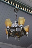 ANTIQUE   ART DECO SLIP SHADE CEILING LIGHT FIXTURE CHANDELIER ,  5 SHADES,