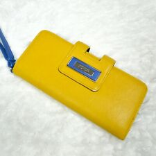 Kenneth Cole Reaction Yellow Blue Genuine Leather Trifold Tab Clutch Wallet