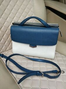 FENDI Demi Jour Saffiano Leather Bag Shoulder Top Handle Handbag Blue 8BT222