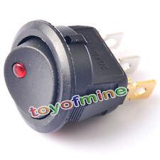 12V LED Interrupteur Bascule Bipolaire ON/OFF SPST Rocker ronde Dash Auto rouge