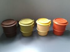 More details for 4 x retro 1970's tupperware lidded stacking multi coloured plastic mugs/cups