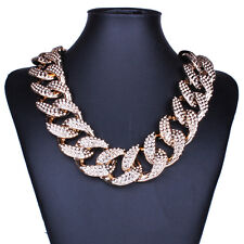 Fashion Rose Gold Plated Rhinestone Wide Statement Bib Collar Choker Necklaces