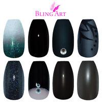 Bling Art Coffin Black False Nails Glitter Matte Gel Fake 24 tips Medium Glue