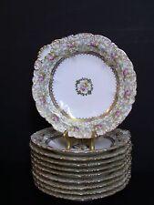 A. FRANCE Depose C. AHRENFELDT c. 1880's Gold Floral Rimmed Soup Bowls/Set of 10