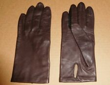 Exc Vintage Fownes Womens Brown Leather Silk Lined Gloves sz 6 1/2