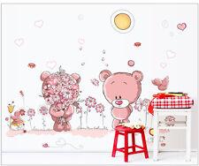 Wandtattoo Deko  Sticker Wandsticker Wandaufkleber Bär Bärchen Pink Kinder #7227
