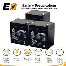 Pack of 3 - 12V 5Ah Sealed Lead Acid Rechargeable Batteries