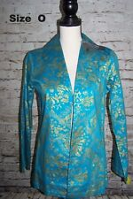 Chicos Additions Womens Jacket size O S Blue Gold Persian Luster NWT Lightweight