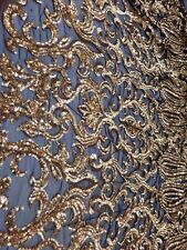 Bridal Wedding Gold Sequin Embroidered Black Mesh Net Lace Fabric BTY