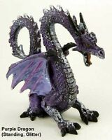 Dragon Ornament With Large Wings Standing Glitter Purple Mythical Statue Figure