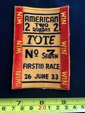 VTG patch American Totalisator Co. betting horse gambling ticket tote rare OG