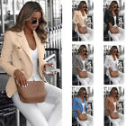 Women Long Sleeve Double Breasted Fit Blazer Plain Coat Casual Slim Suit Jacket