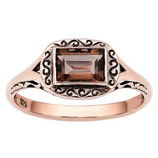 10k Rose Gold Vintage Style Genuine Emerald-cut Smoky Quartz Scroll Ring