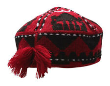 AFGHAN MAZARI PASHTEEN UZBEK TURKMEN RED CAP HAT HAND MADE EMBROIDERY NEW