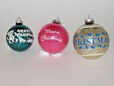 Usa Antique Glass Merry Christmas Stencil Christmas Ornament Decoration 1950's