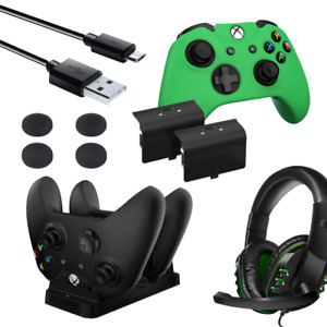 Premium Accessory Pack for Xbox One with Headset, Thumb Grips, Battery Charger