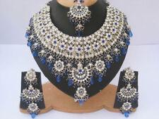 Silver Plated Jodha Akbar Kundan Zerconic Indian Necklace Earrings Tikka Set 4