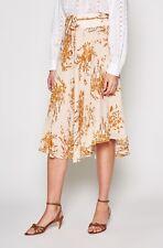 JOIE Arvina Women's Skirt Size 10 Peach Cream Metallic Print Silk Asymmetrical