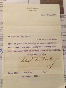 William McKinley signed letter...jsa