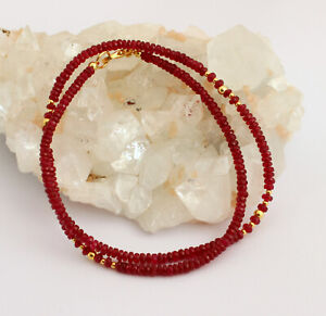 Exclusive Ruby Necklace Precious Stone Red Faceted Rondelle Top 18 11/16in