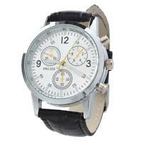 Reloj Cuarzo Pulsera Correa PU 3 Esferas Numeros Romanos para Hombre M4I2