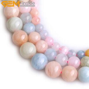 "Natural Gemstone Genuine Morganite Stone Jewelry Making Loose Beads Strand 15"""