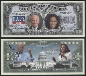 Vote Biden - Harris 2020 Election Million Dollar Bill Novelty Note + FREE SLEEVE
