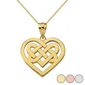 Solid Gold Or 925 Silver Religious Heart Celtic Knot Woven Pendant Necklace