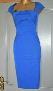 COAST COBALT BLUE FITTED FORMAL OCCASION SUMMER WEDDING PARTY DRESS SIZE 14