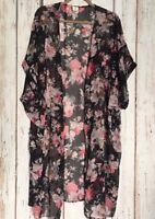 XL/1X/2X/3X Long Black BabyRoses Pink Floral Duster Kimono Jacket Top Topper