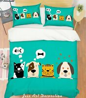 3D Cartoon Dog Green Quilt Cover Duvet Cover Comforter Cover Single/Queen/King 6