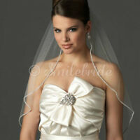 1-Layer Fingertip Length Rhinestones Edge Wedding Bridal Veil with Comb