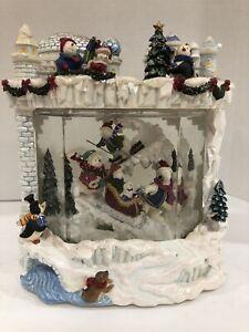 Kirkland Signature WATER WINDOW Snow Globe Snowman Christmas #166869 Ski Sled