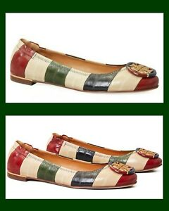 TORY BURCH MINNIE BALLET FLAT/LOAFER MULTI COLOR LOGO STRIPED EEL LEATHER SZ 10
