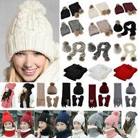 2Pcs/3Pcs Women Knitted Beanie Bobble Pom Hat Scarf Gloves Set Winter Warm Ski