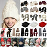 2Pcs/3Pcs Women Knitted Beanie Bobble Pom Hat Scarf Gloves Set Winter Warm Ski