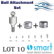 Lot x 10 set dental implant titanium ball attachment abutment silicon metal cap