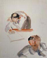 Charlotte Zurek 1910-1971 Skizze Studie Porträt Schreibender Mann Maryan Zurek?