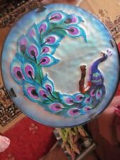 "LOVELY PEACOCK DESIGN ROUND TABLE/STAND  12"" PLATE 20"" STAND COLLECT ONLY PLEASE"