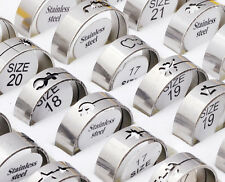 12Pcs Fashion Silver Stainless Steel Rings Wholesale Bulk Lots Men's Jewelry